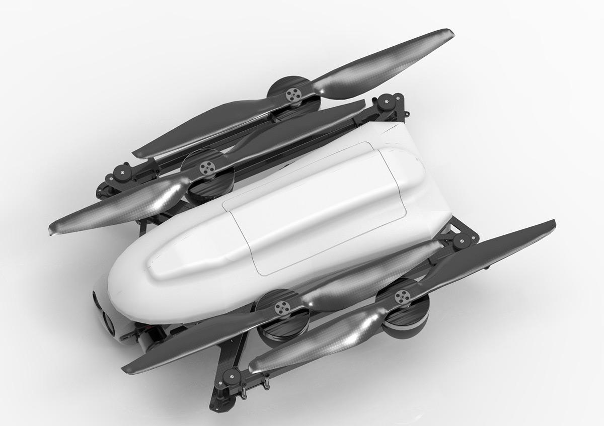 Folded UAV platform FRONTIER in white version.